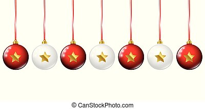 white and red christmas bauble with golden stars