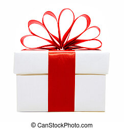 White and red Christmas gift box