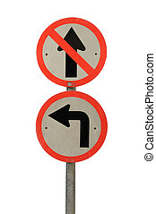 White and red frame traffic sign, Do not go straight isolated on white background ciptping path  include.
