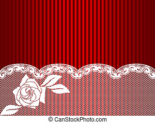 White and red French lace background, horizontal