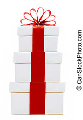 White and red gift boxes stacked