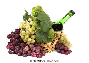 white and red grape with leaves and bottle of wine