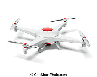 White and red quadrocopter isolated on a white background. ...
