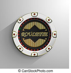 White and red roulette chip isolated on light background, vector illustration