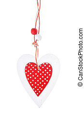 White and red sewed christmas heart on white background,  for greetings Valentine's  day