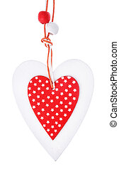 White and red sewed christmas heart isolated, for greetings Valentine's day