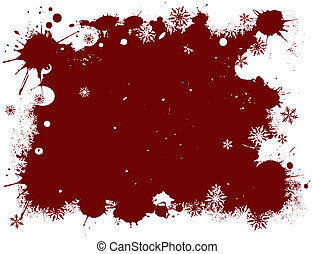 White and Red Snow Flake Grunge
