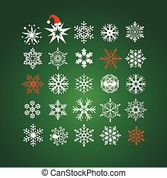 White and red snowflakes on dark green background pattern for texture on a winter theme