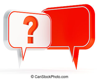 white and red speech bubbles with a question mark