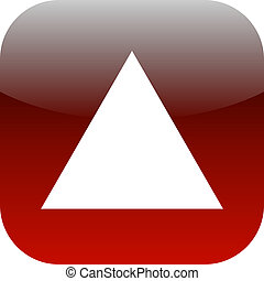 white and red triangle icon or button
