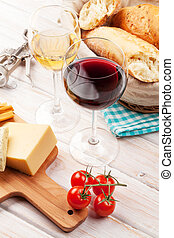 White and red wine, cheese and bread