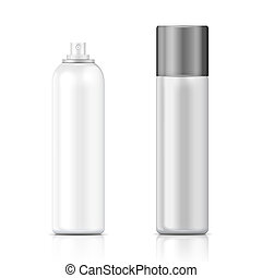 White and silver metal bottle with sprayer cap for cosmetic, perfume, deodorant or freshener or hairspray. Packaging collection.
