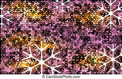 White and violet transparent snowflake Christmas light vector backdrop. Different pink triangle on a black abstract background with snowflakes. Card or invitation decoration and design illustration