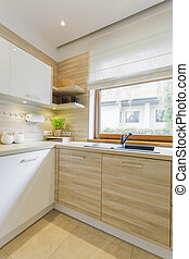 White and wood kitchen with cabinets