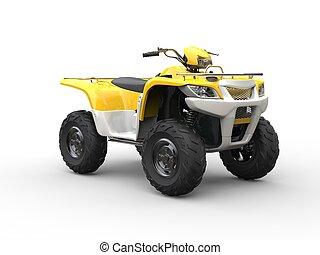 White and yellow classic quad bike