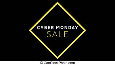 White and yellow Cyber Monday sale text appearing 4k - ...