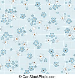 White and Yellow daffodils, blue forget me not flowers on light background. Seamless repeat pattern of squared rough pastel paper