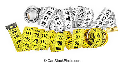 white and yellow measuring tape isolated on a white background