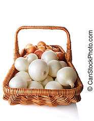 White and Yellow Onions in the Basket