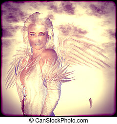 White Angel in Clouds - Divine white angel in clouds,...