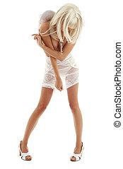 white angel on high heels - white lingerie angel girl on...