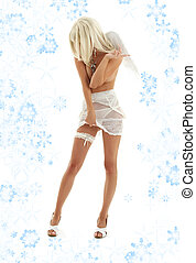 white angel on high heels with snowflakes #2