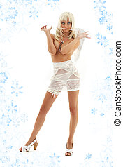 white angel on high heels with snowflakes #3
