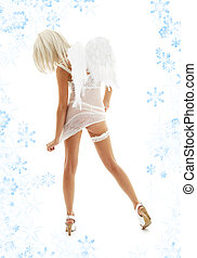 white angel on high heels with snowflakes #4 - white...