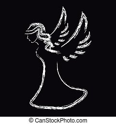 White angel silhouette on black background