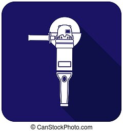 White angle grinder icon on a blue background