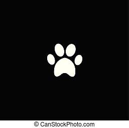 White animal paw print icon isolated on black  background.