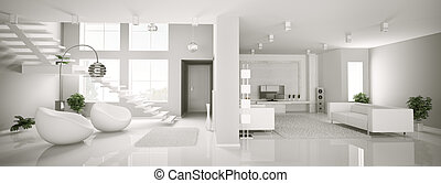 White apartment interior panorama 3d render