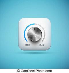 white app icon with music volume control knob, realistic...