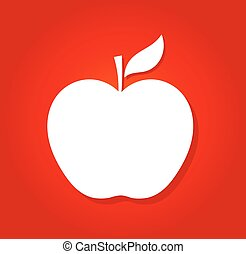 White apple on red background