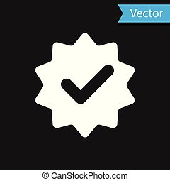 White Approved or certified medal with ribbons and check mark icon isolated on black background. Vector Illustration