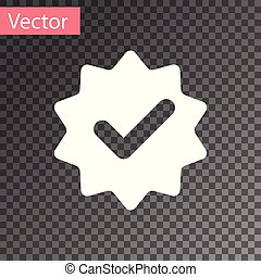 White Approved or certified medal with ribbons and check mark icon isolated on transparent background. Vector Illustration