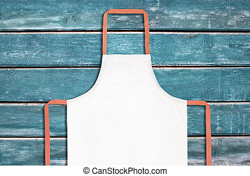 White apron on blue