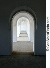 White arch corridor