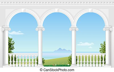 White arch of the palace