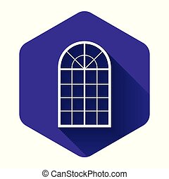 White Arched window icon isolated with long shadow. Purple hexagon button. Vector Illustration