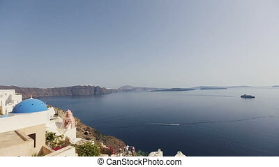 White architecture on Santorini island, Greece.  Beautiful landscape with amazing sea view