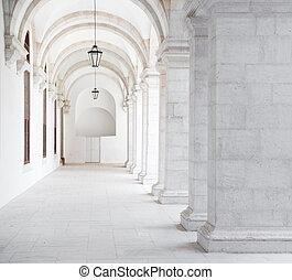 White archway in Igreja and Convento da Graca in Lisbon.