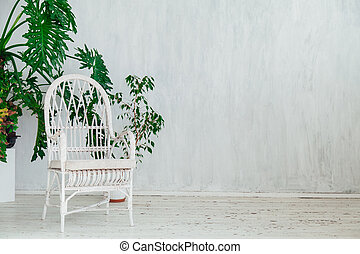 white armchair with home plants in the interior of a vintage gray room