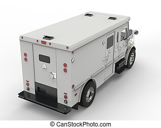 White armored transport van - top down back shot
