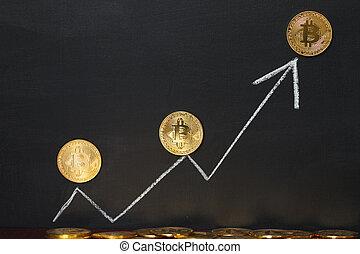 White arrow Bitcoin concept