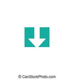 white arrow down in blue square. flat icon. download sign.