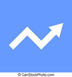 White Arrow Graph on Blue Background. Vector