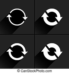 White arrow icon refresh, reset, repeat sign