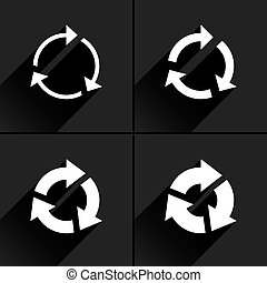 White arrow icon refresh, rotation, repeat sign