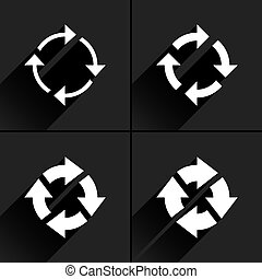 White arrow icon refresh, rotation, reset sign